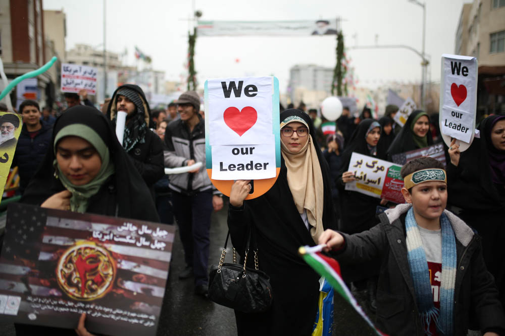 Hundreds of thousands of people took to the streets of Tehran and other cities across Iran on Monday, marking the 40th anniversary of the 1979 Islamic Revolution. [Mohammad Ali Najib/Al Jazeera]