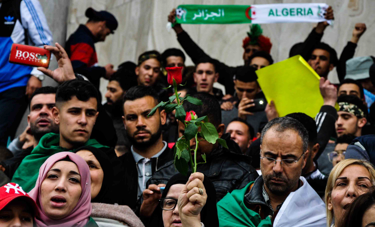 Algerians from all walks of life participated in the protests against Bouteflika's reelection bid. [Ahmed Sahara/Al Jazeera]