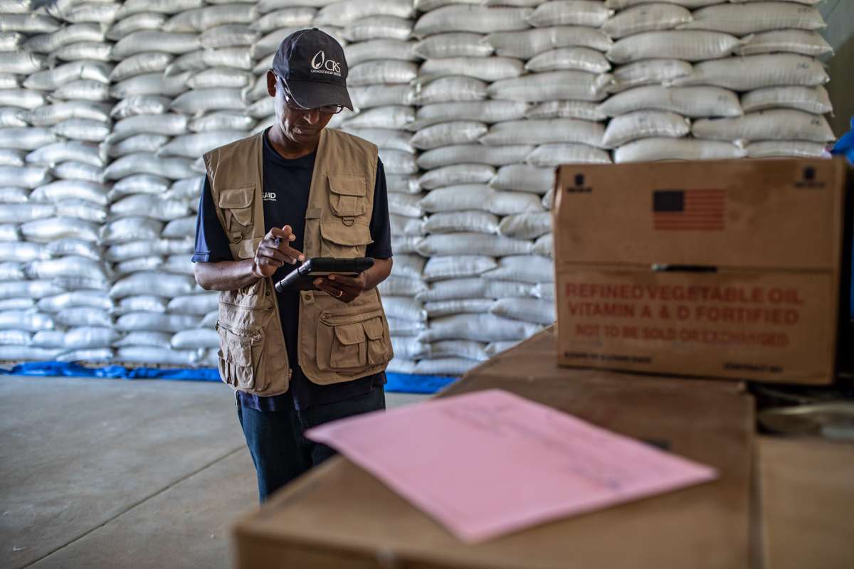 New technology has been in place since 2016 to track food aid in Ethiopia. Around 99 percent of aid has been accounted for and delivered to the families for which it is intended through this technology. [Will Baxter/CRS]