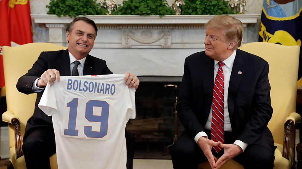 Trump and Bolsonaro exchanged football shirts in the Oval Office