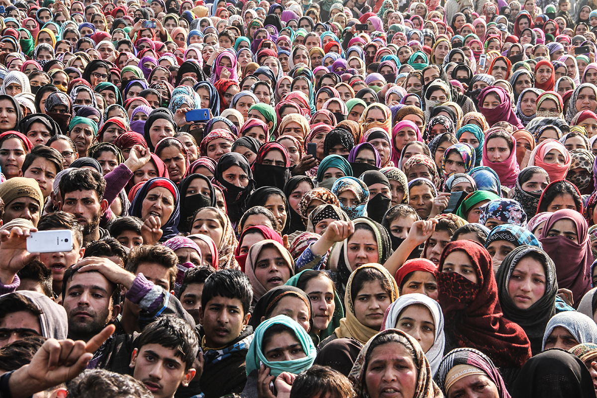 Women attending the funeral prayers of a rebel in Shopian district of south Kashmir. Shopian and Pulwama districts have remained hotbeds of local rebellion after the killing of charismatic rebel commander Burhaan Wani, in 2016. [Sameer Mushtaq/Al Jazeera]