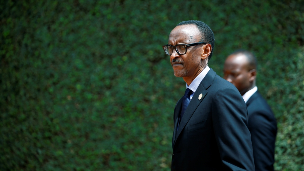 Rwandan President Paul Kagame arrives for a commemoration ceremony of the 25th anniversary of the Rwandan genocide at the Genocide Memorial in Gisozi in Kigali, Rwanda April 7, 2019