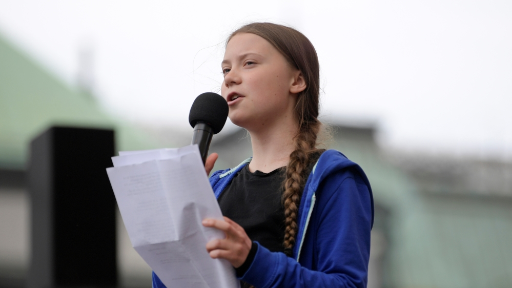 Swedish climate activist Greta Thunberg speaks in Stockholm