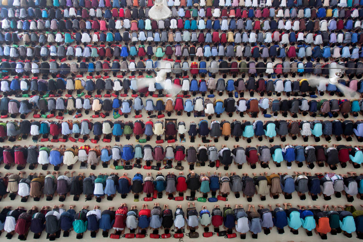 Students take part in the midday prayer at Ar-Raudlatul Hasanah Islamic Boarding School in Medan, North Sumatra, Indonesia. [Binsar Bakkara/AP Photo]