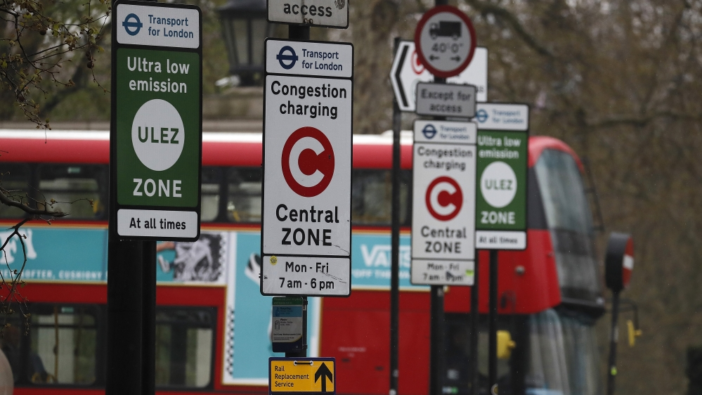 A London bus enters the new Ultra Low Emission Zone that has come into force Monday, in London, Monday, April 8, 2019