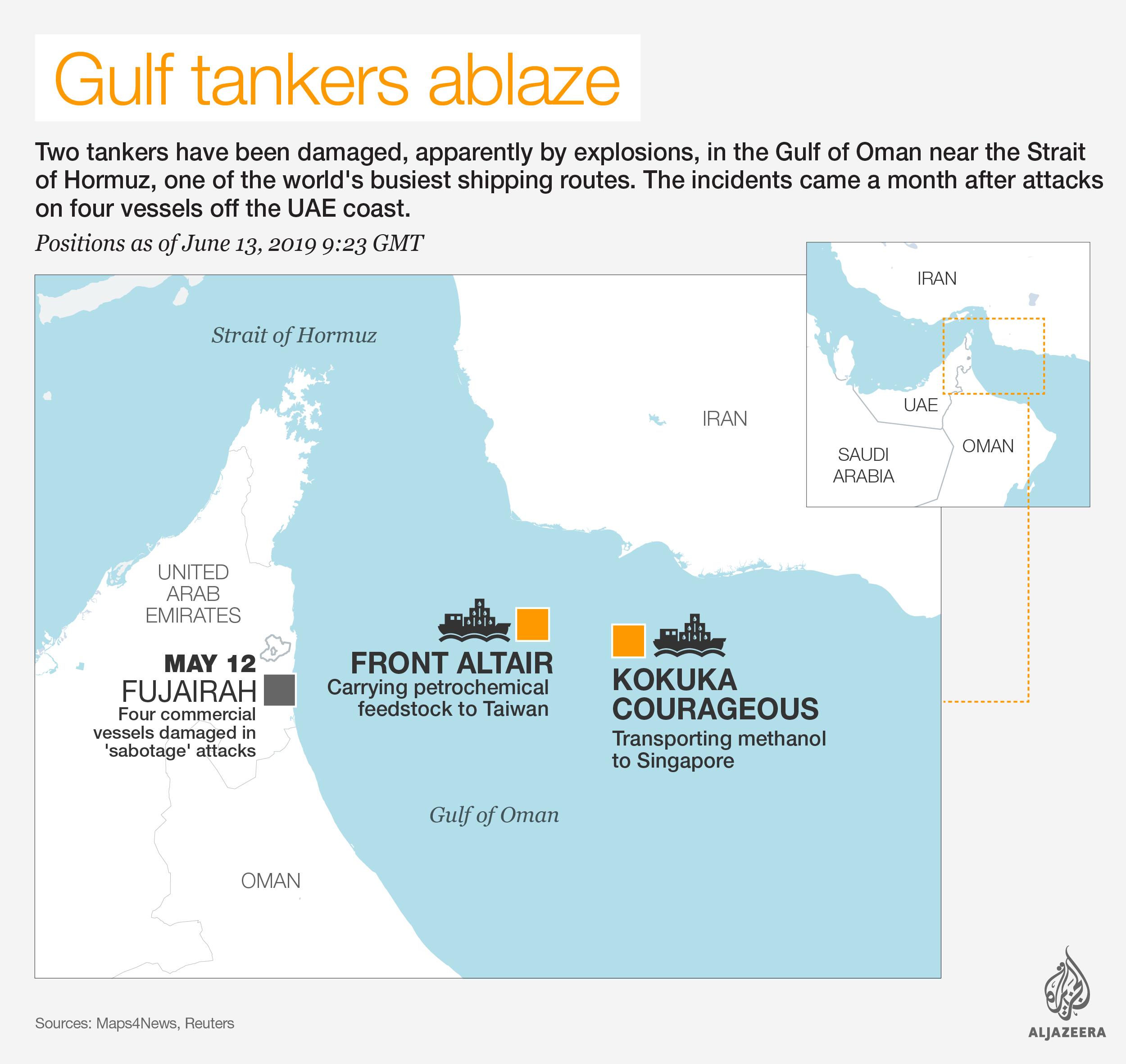 INTERACTIVE: Gulf of Oman - oil tankers ablaze, June 12 2019