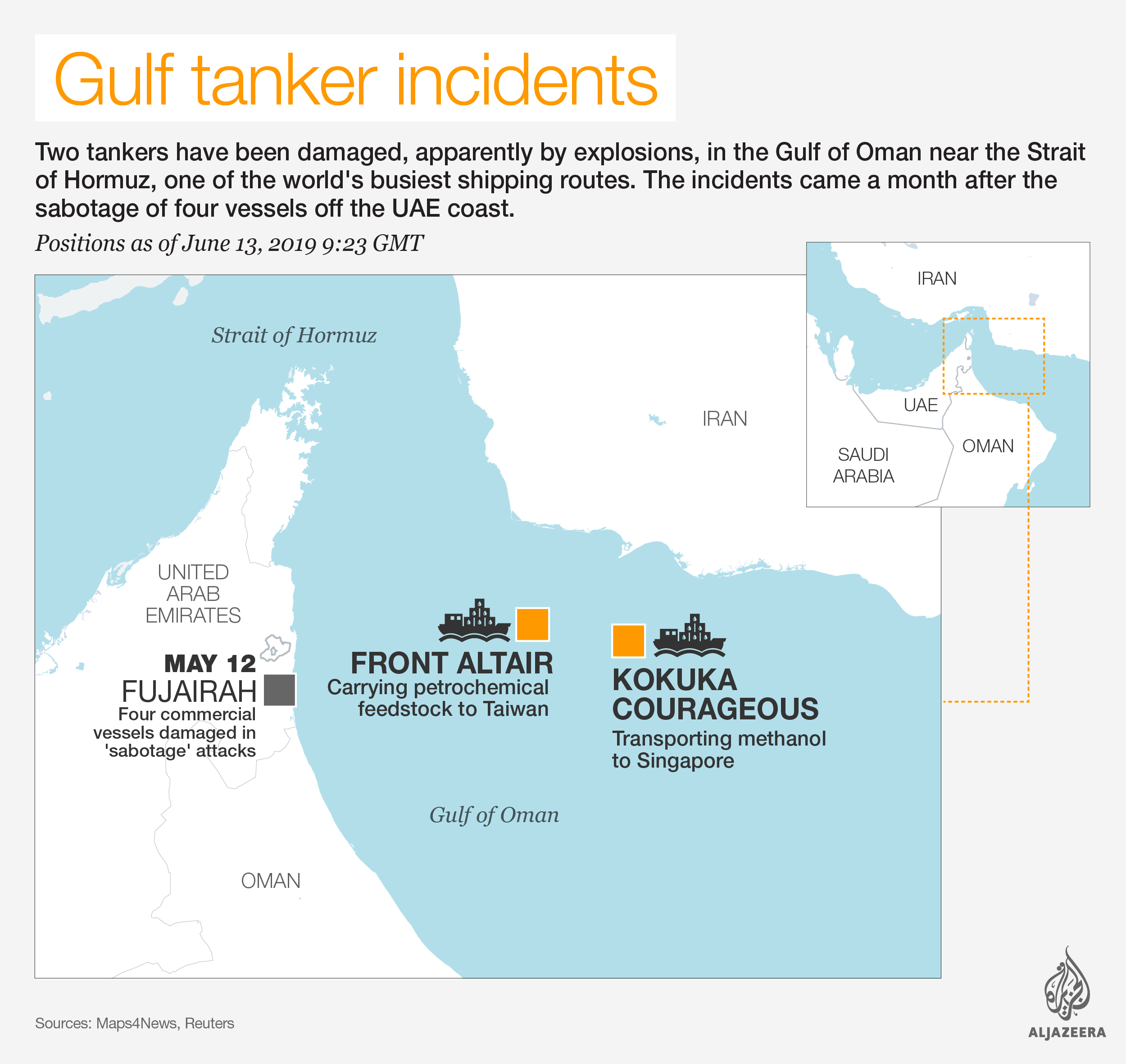 INTERACTIVE: Gulf of Oman - oil tankers incident, June 15, 2019