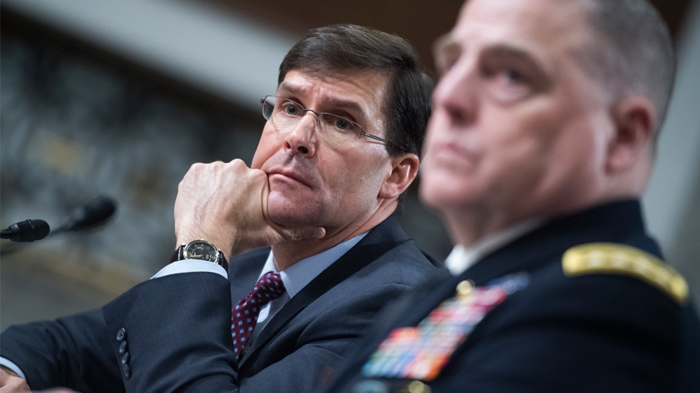 Senate Armed Services Committee UNITED STATES - MARCH 26: Secretary of the Army Mark T. Esper, left, and Gen. Mark A. Milley, Army chief of staff, testify during a Senate Armed Services Committee