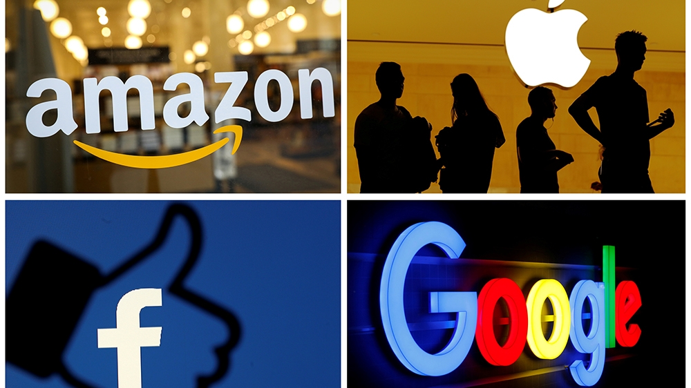 Logos of Amazon, Apple, Facebook and Google seen in a combo photo from files. REUTERS