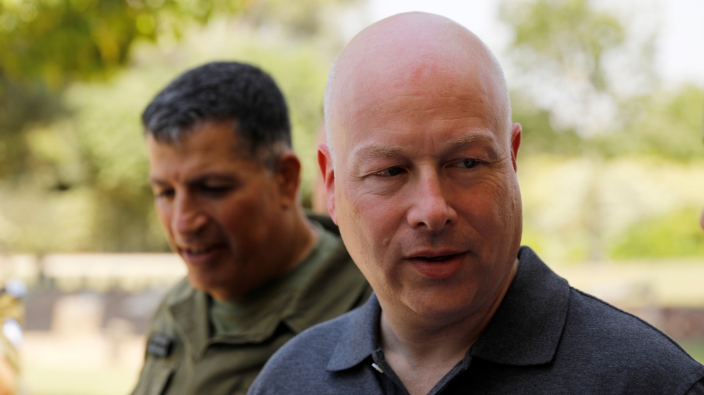 Jason Greenblatt, U.S. President Trump's Middle East envoy, arrives to visit Kibbutz Nahal Oz, just outside the Gaza Strip