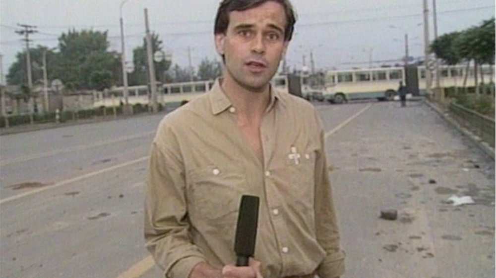 Adrian Brown reporting from Tiananmen Square in 1989