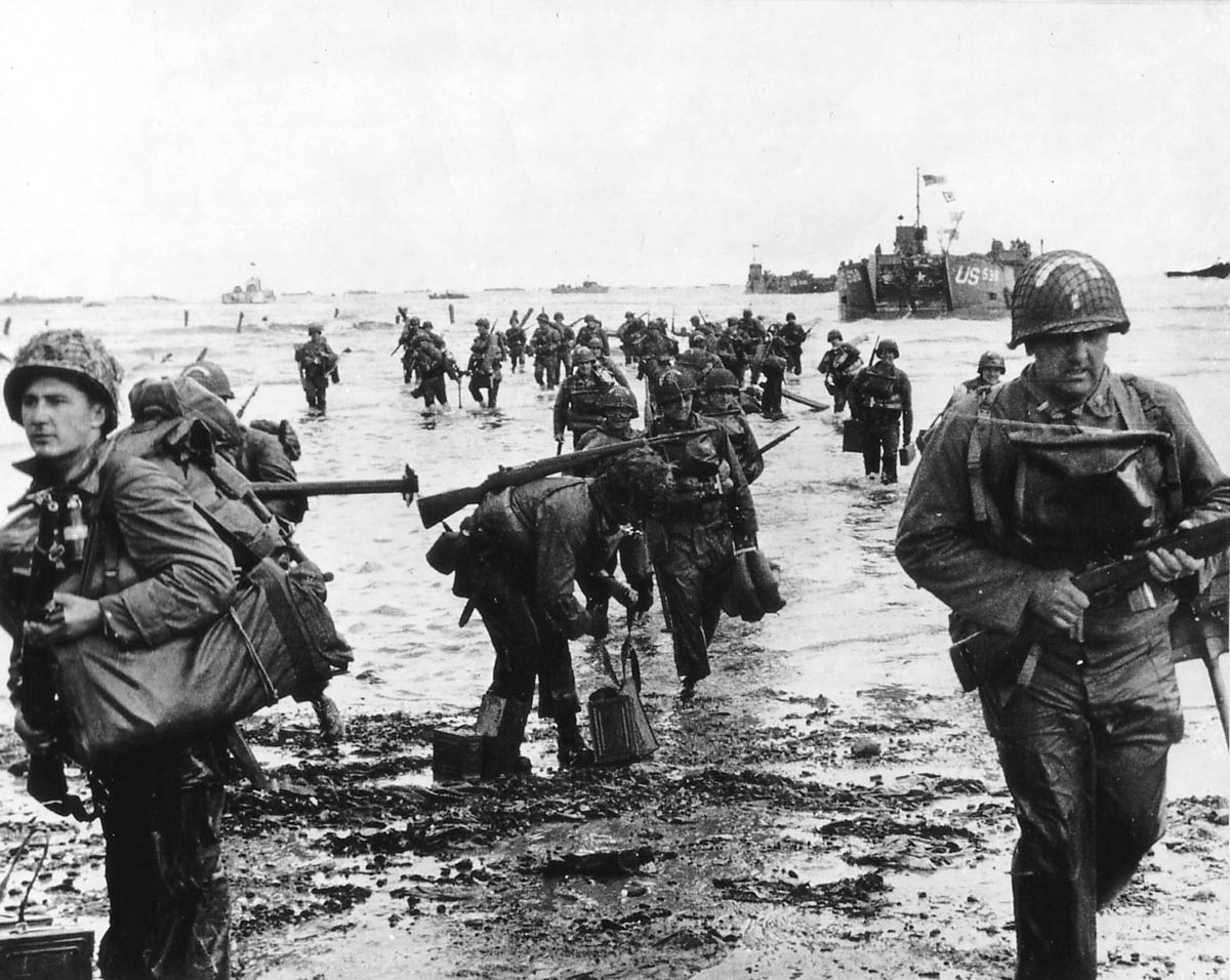 US reinforcements land on Omaha Beach during the Normandy D-Day landings near Vierville-sur-Mer, France, on June 6, 1944. [Cpt Herman Wall/US National Archives/Reuters]