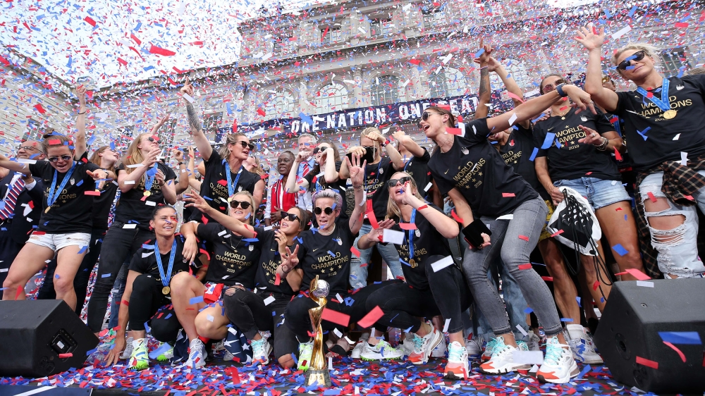 The United States women's national soccer team celebrates at City Hall after the ticker-tape parade for the United States women's national soccer team down the canyon of heroes in New York City. Manda