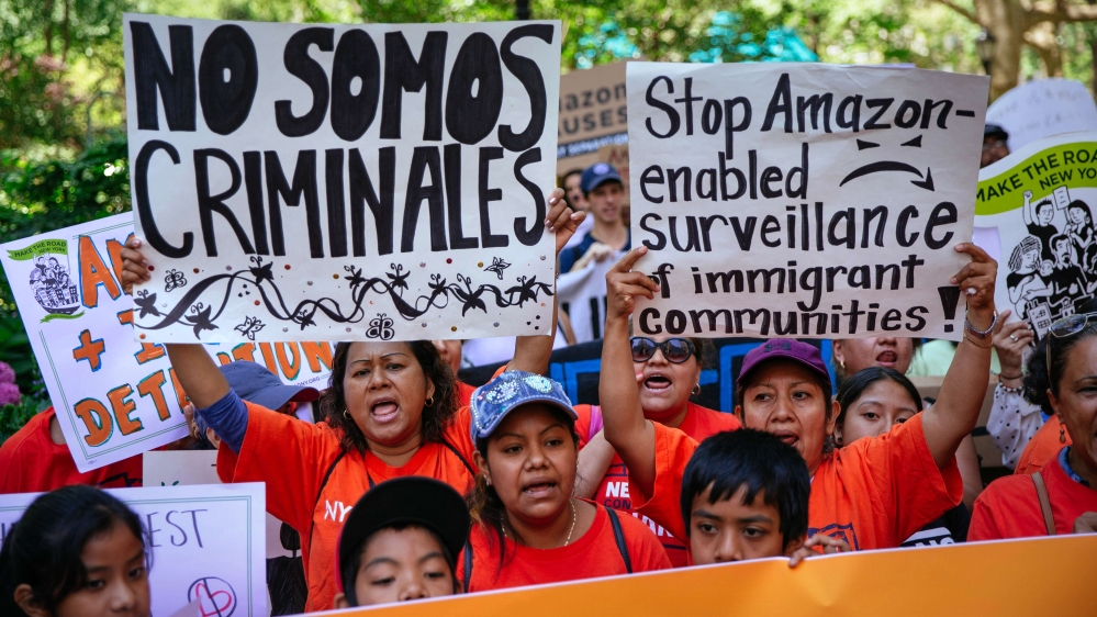 What is Amazon's role in the US immigration crackdown