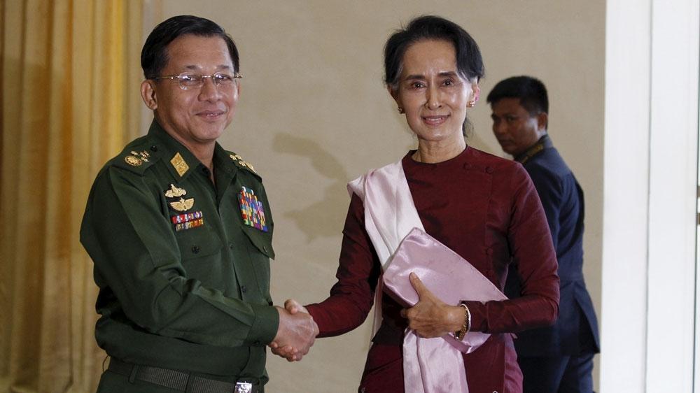 Jefe del ejército de Myanmar y Aung San Suu Kyi