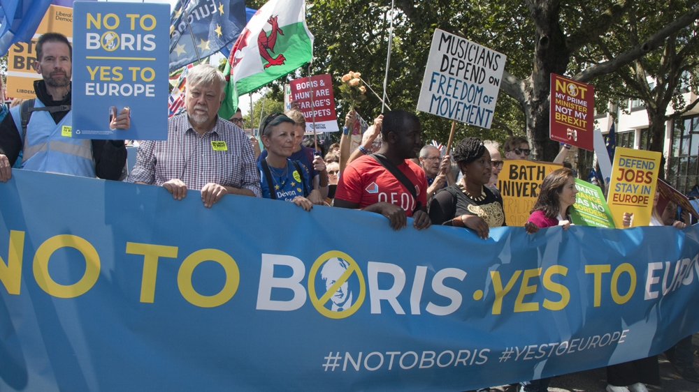"""The march went by the slogan """"No to Boris, Yes to Europe"""""""