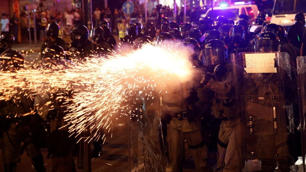 Riot police clash with anti-extradition demonstrators, after a march to call for democratic reform in Hong Kong, China July 21, 2019