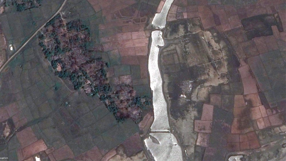 Satellite images of Maw village in Rakhine State show buildings that remained standing after the 2017 violence, were razed by April 2018. Source: International Cyber Policy Centre, ASPI.