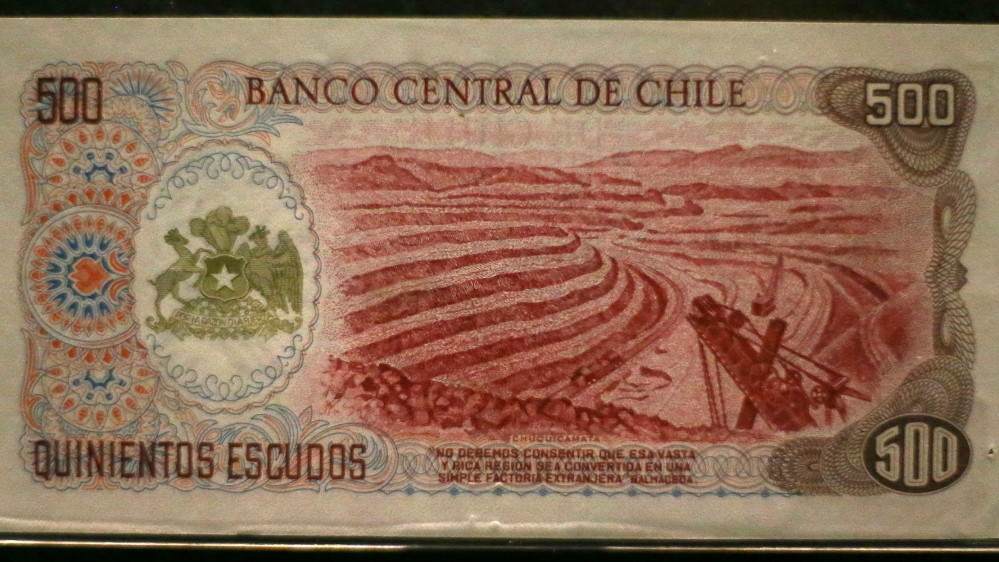 A bill, printed with the open pit of Chuquicamata copper mine, is displayed at the money museum of Chile's Central Bank headquarters in Santiago