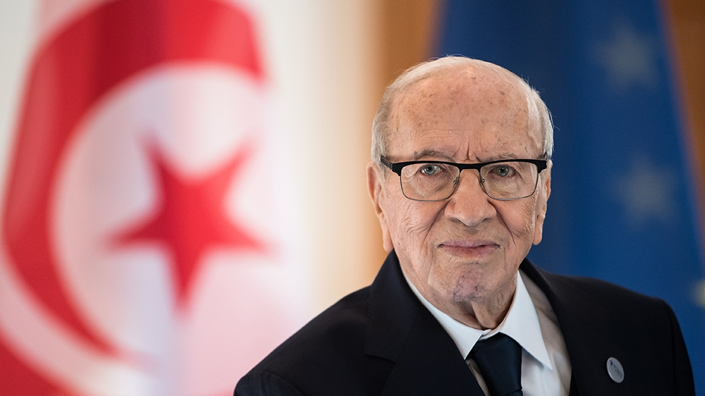 Picture taken on October 30, 2018 shows Tunisian President Beji Caid Essebsi during a visit at the presidential Bellevue Palace in Berlin. - Essebsi, the North African country's first democratically e