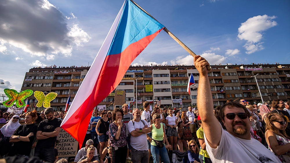 CZECH REPUBLIC - JUNE 23:  Protesters attend an Anti-Government protest at the Letna plain on June 23, 2019 in Prague, Czech Republic. Tens of thousands attended the rally in Prague demanding the resi