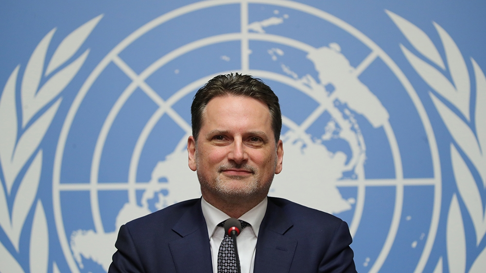 Pierre Krahenbuhl, Commissioner-General of the United Nations Relief and Works Agency for Palestine Refugees in the Near East (UNRWA), attends a news conference in Geneva, Switzerland January 29, 2019