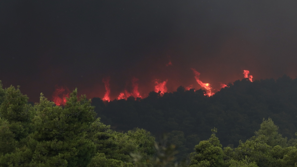 Villages evacuated as wildfire rages on Greek island of Evia