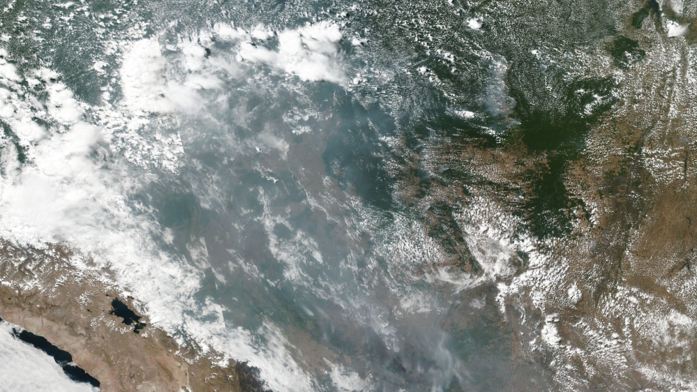 This satellite image provided by NASA shows the fires in Brazil on Aug. 20, 2019