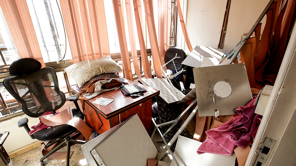 This picture taken on August 25, 2019 shows damage inside a media centre of the Lebanese Shiite group Hezbollah in the south of the capital Beirut, after two drones came down in the vicinity of its bu