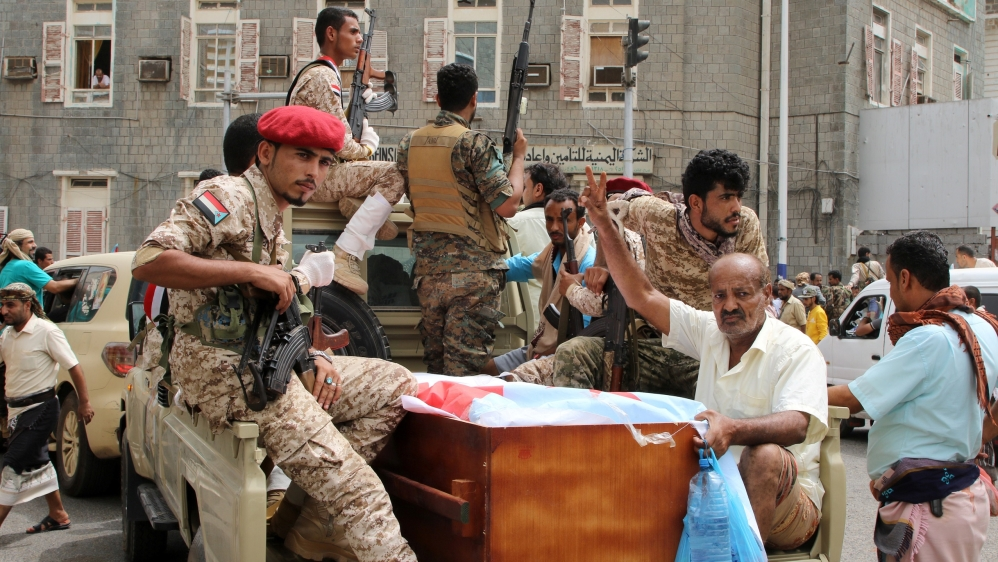 Arab coalition calls for ceasefire in Aden, Yemen