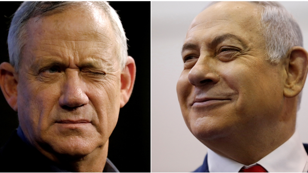 A combination picture shows Benny Gantz (left), leader of Blue and White party, at an election campaign event in Ashkelon, Israel, April 3, 2019, and Israeli Prime Minister Benjamin Netanyahu