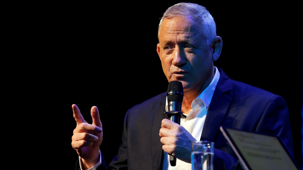 Benny Gantz, the leader of Blue and White party speaks at an event hosted by the Tel Aviv International Salon ahead of general election, in Tel Aviv, Israel