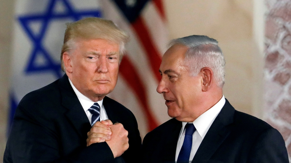 U.S. President Donald Trump and Israeli Prime Minister Benjamin Netanyahu shake hands after Trump's address at the Israel Museum in Jerusalem May 23, 2017