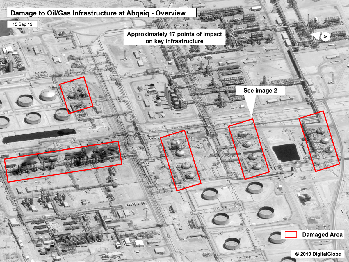 This image, submitted on Sunday, September 15, 2019 by the US Government and DigitalGlobe and tagged with a source, shows infrastructure failure at the Saudi Aramko Oil Refinery