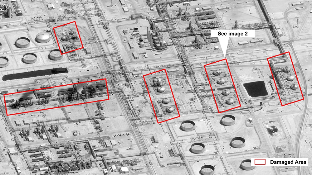 This image provided on Sunday, Sept. 15, 2019, by the U.S. government and DigitalGlobe and annotated by the source, shows damage to the infrastructure at Saudi Aramco's Abaqaiq oil processing facility