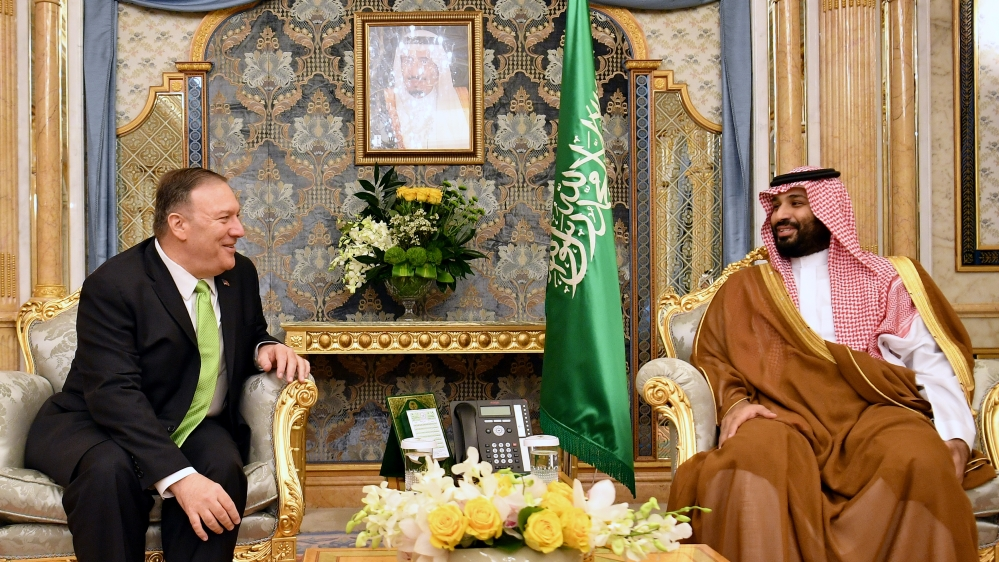U.S. Secretary of State Mike Pompeo takes part in a meeting with Saudi Arabia's Crown Prince Mohammed bin Salman in Jeddah
