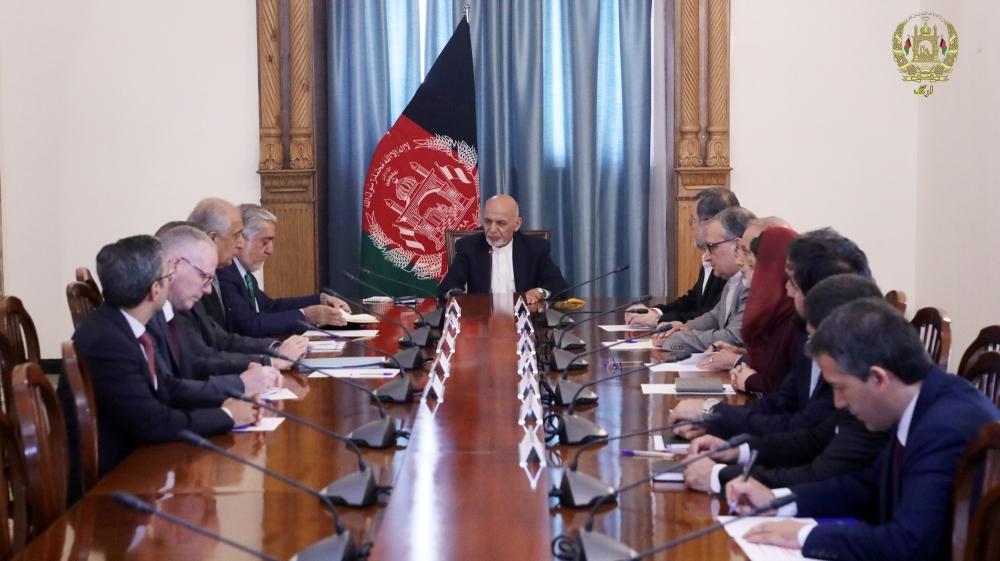 Afghan President Ashraf Ghani meets with U.S. special representative for Afghanistan Zalmay Khalilzad in Kabu