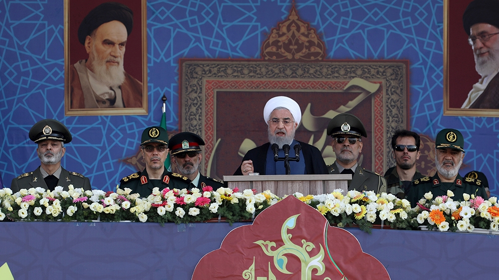 Iranian President Hassan Rouhani delivers a speech during the ceremony of the National Army Day parade in Tehran, Iran September 22, 2019. WANA (West Asia News Agency) via REUTERS   ATTENTION EDITORS