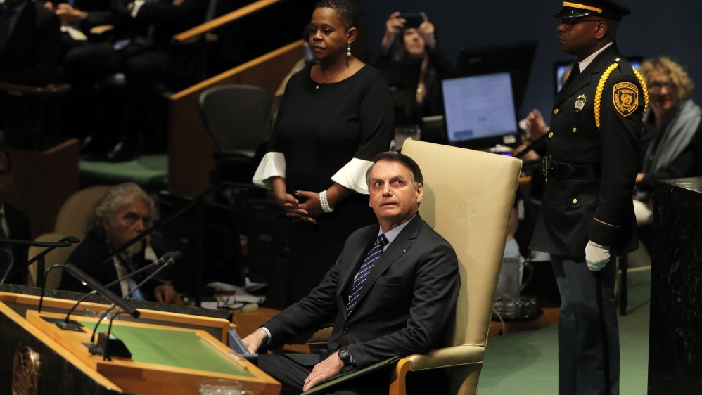 Brazil's President Bolsonaro sits before his address to the 74th session of the United Nations General Assembly at U.N. headquarters in New York City, New York, U.S.