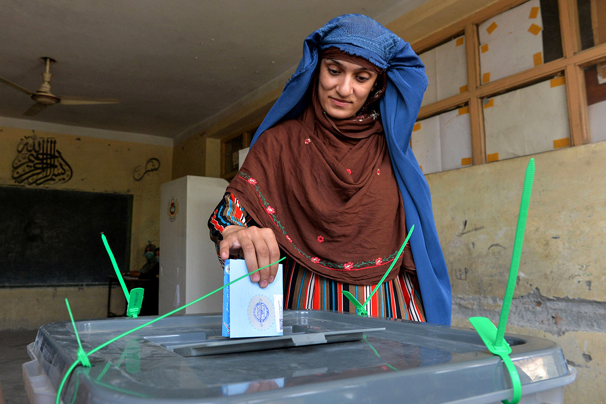 Saturday's presidential election is the fourth since the fall of the Taliban in 2001. [Noorullah Shirzada/AFP]