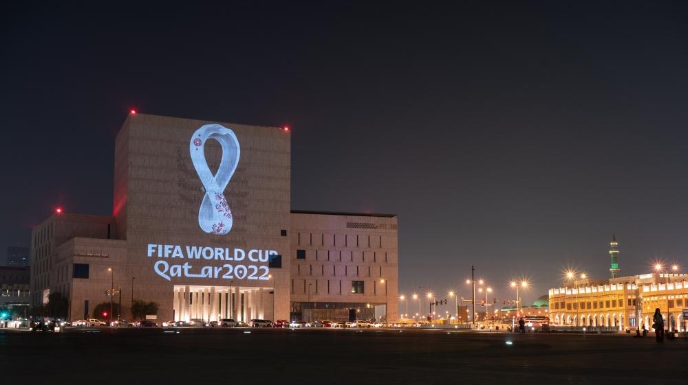 qatar 2022 football logo emblem [Sorin Furcoi/Al Jazeera]