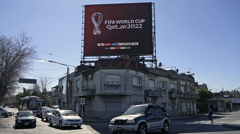 An electronic board displays the official logo of the FIFA World Cup Qatar 2022 in Buenos Aires outskirts, on September 3, 2019. Qatar unveiled the logo for the 2022 World Cup which will be hosted by