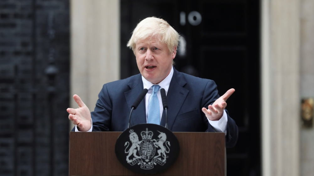 Britain's Prime Minister Boris Johnson addresses the media outside Downing Street in London, Britain, September 2, 2019