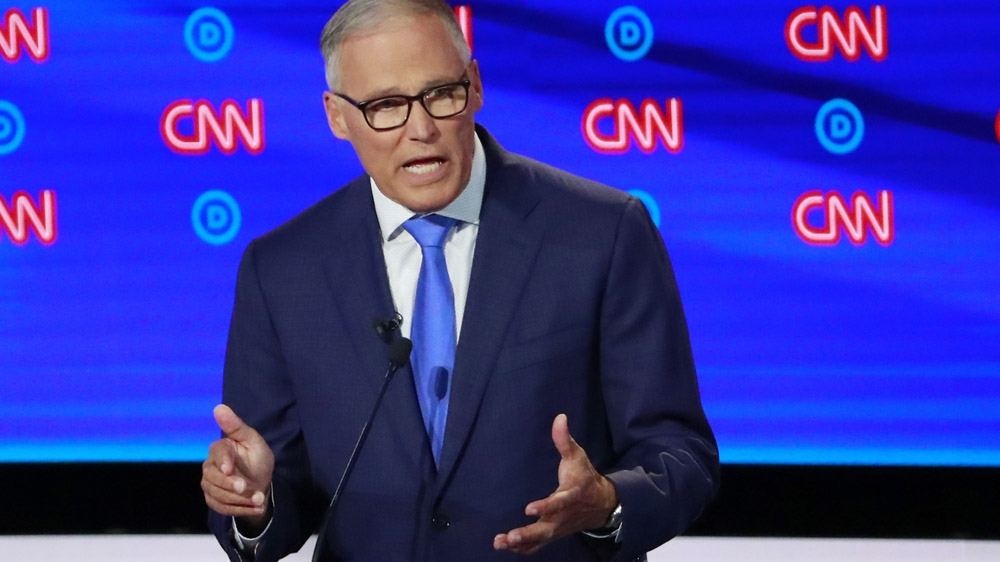 Washington Governor Jay Inslee speaks on the second night of the second U.S. 2020 presidential Democratic candidates debate in Detroit, Michigan, U.S.