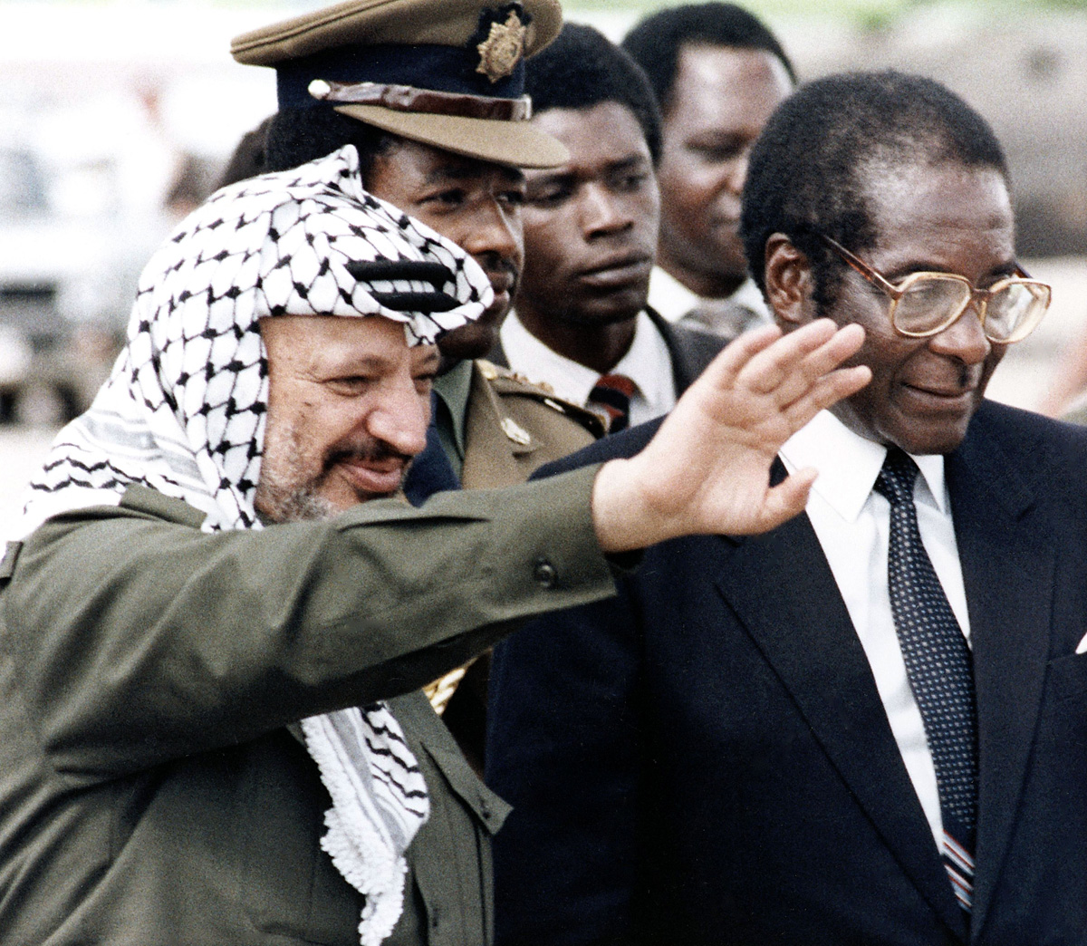 Mugabe also met the Chairman of the Palestine Liberation Organization [PLO] Yasser Arafat, who reportedly praised the leader for his solidarity towards the Palestinian people. [AP Photo]