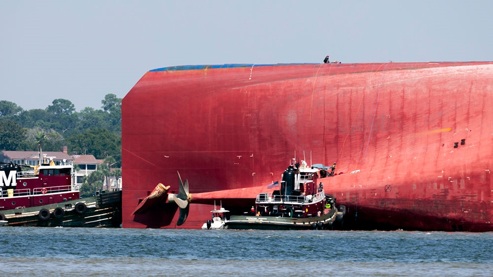 US rescues 3 crew members from capsized South Korean cargo