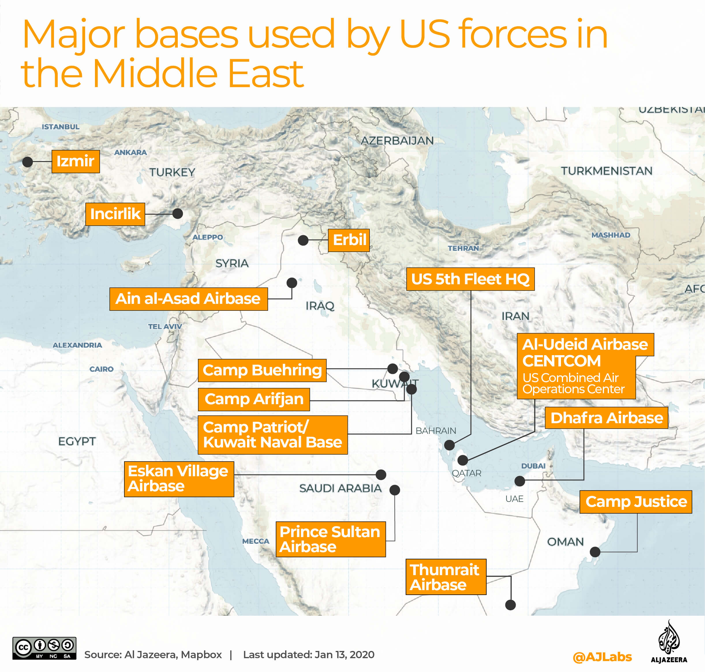 US military presence in the Middle East and Afghanistan | | Al Jazeera