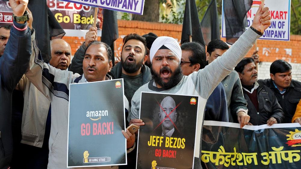 India protest against Amazon chief Jezz Bezos