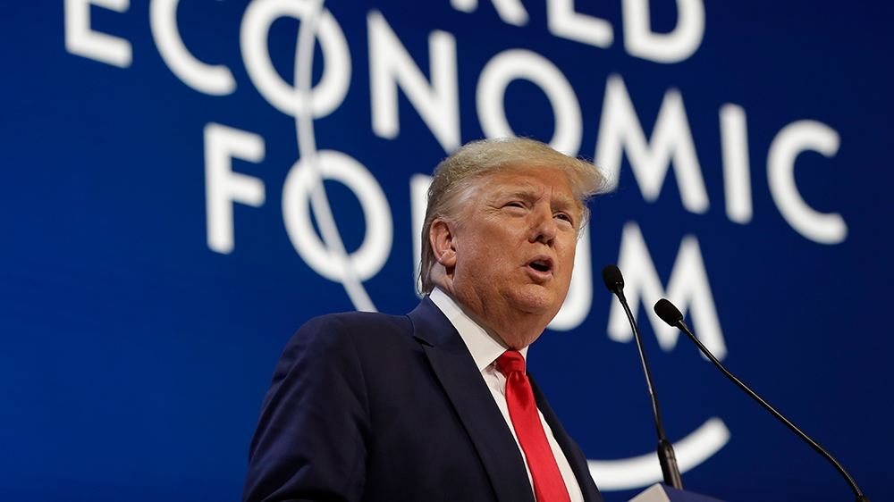 President Donald Trump makes the opening statements at the World Economic Forum on Tuesday, January 21, 2020 in Davos. (AP Photo / Evan Vucci)