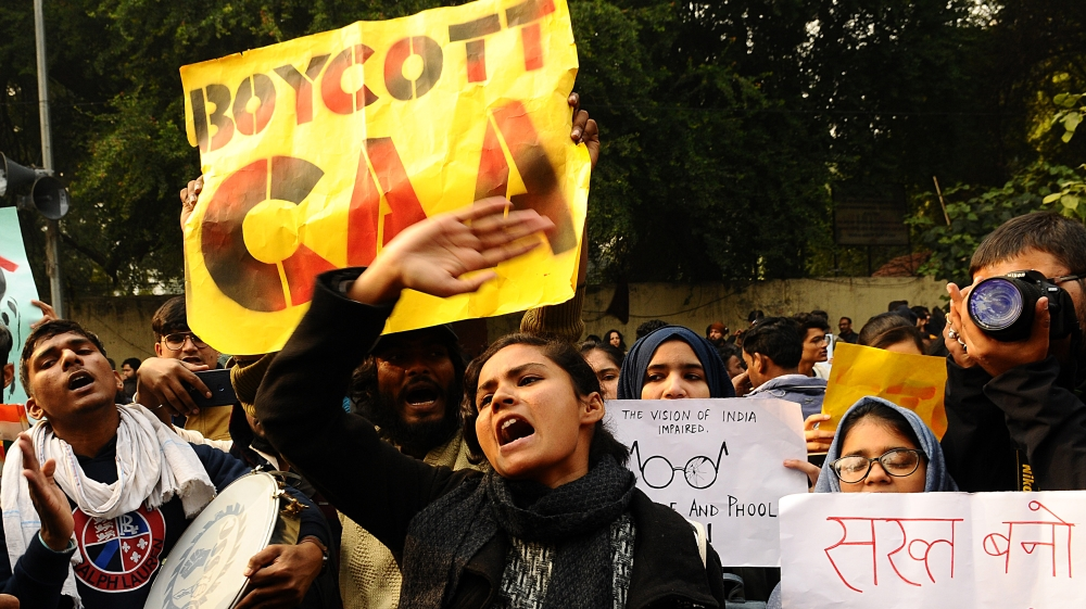 Demonstration against India's new citizenship law in New Delhi